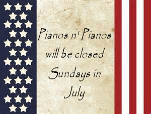 Closed Sundays in July